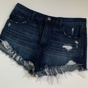 Hollister Dark Wash Distressed Denim Shorts